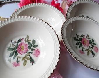 Dessert Bowls Harker Pottery Pink and Green Floral Set of Four - Vintage Chic