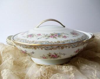 Vintage Noritake Somerset Covered Dish Pink Blue Floral - Weddings Bridal