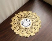 French Lace Scallop Crochet Lace Doily, Yellow and White, New Table Centerpiece, Modern Home Decor, Sea Shell Edging