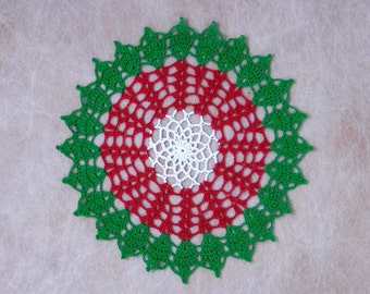 Christmas Holly Crochet Lace Doily, Table Decor, New Holiday Decoration, On Sale