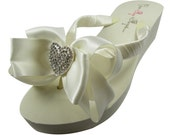 Wedding flip flops for the bride and bridesmaids- heart bling bow in ivory white or any bridal flip flops