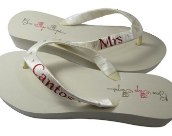 Wedding Bridal Flip Flops, Customizable Mrs Last Name Wedding Flip Flops for the wedding - ivory red any color- swarovski rhinestone accents