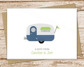 personalized notecards CAMPER note cards folded personalized stationery RV trailer caravan camp vacation motor home travel cards | set of 8