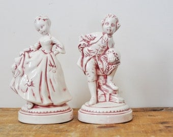 Vintage Ceramic Figurines Man and Woman Colonial Couple Holland Mold Figurines George Washington and Martha