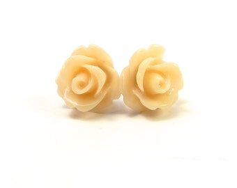 Ivory Peach Rose Stud Earrings- Surgical Steel- 10mmBlack Friday Sale 20% Off