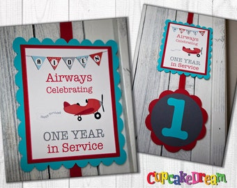 Airplane Birthday, Welcome Sign, Happy Birthday Banner