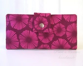 Handmade women wallet - Fiesta - sunburst fuschia and magenta - ID clear pocket - ready to ship - gift for her - Stonehill Collection