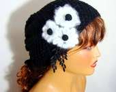 Hand Crochet Black Unique Beanie Hat, Winter Hat, Black winter Beret , Black Women Winter Hat