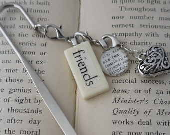 FRIENDS Bookmark Personalized with Mini Domino silver-tone charm dictionary glass gem charm Kristin Victoria Designs Mom Personalized Gift