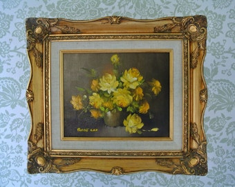 ORIGINAL Robert Cox Oil on Canvas Painting-Signed-Yellow Roses-Gilded Frame