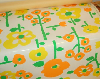 """Vintage 60's / 70's French Bright Fun """"Flower Power"""" Custom Hand Print Wallpaper by W.H.S. Lloyd Co. titled """"Naivete"""""""
