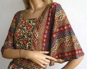 Vintage 60s 70s Dress Exotic Cotton Boho Hippie Caftan Dashiki Bat Wing Sleeve Maxi Dress
