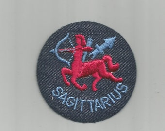 Sagittarius Zodiac Astrology Round Vintage Patch from 1970s Retro