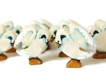 Wooden Noahs Ark  Animals Swan Pair