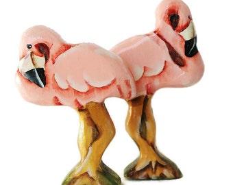 Wooden Noahs Ark Animals  Flamingo Pair