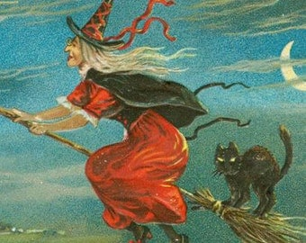 Halloween Witch on Broom - Witch and Black Cat - Witch and Full Moon- Vintage Halloween - Digital Download
