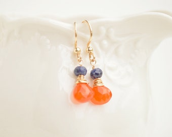 Carnelian & Sapphire Teardrop Earrings