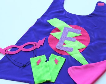 Fast Shipping - GIRLS PERSONALIZED Superhero COSTUME Cape Set - Sparkle Glitter Initial Cape - Includes Cape plus 2 accessories - 2 choices
