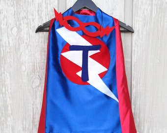 FREE MASK included - Kid Costumes - PERSONALIZED Kids Superhero Cape - Choose the Initial - Super hero party cape