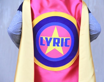 Free mask sale - Girls FULL NAME Star SUPERHERO Cape - Full Name - Personalized hero cape - Fast Delivery - Kid costumes - Halloween ready