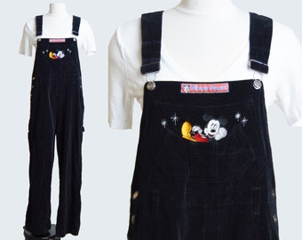 Vintage 90s MICKEY MOUSE Overalls Pants Women / 1990s Black Velvet GRUNGE Pants Straight Leg Baggy Long Jean Pants Hipster s m
