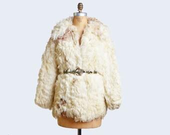 70s LAMB Fur COAT / 1970s Shaggy CURLY Lamb Jacket
