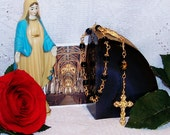 Notre Dame One-Decade Unbreakable Blue and Goldtone Catholic Rosary