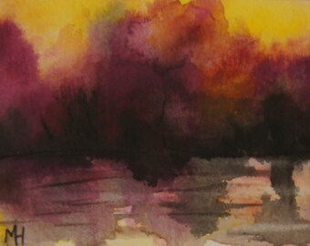 Abstract Original landscape ACEO painting - Mini art trading card, original ATC, 2.5 by 3.5 in - Lake Sunset 5 - watercolour, Free Shipping