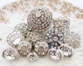 Art Deco Vintage Glam Silver Rhinestone Button Destash Mix Assortment - 12