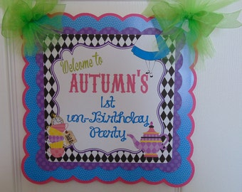 Alice in wonderland Birthday Door Banner, Alice in Onederland, tea party birthday 1st birthday