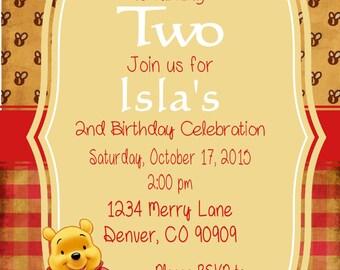 Winnie the Pooh Vintage Birthday Invitations birthday baby shower  PDF Printable