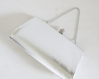 Vintage 1960's Silver Party Purse / Metallic Shimmer Grey Prom Clutch Evening Bag