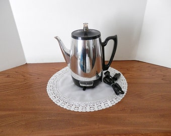 Vintage GE Chrome Percolator - Electric Coffee Maker - Working Mid-Century Coffee Percolator