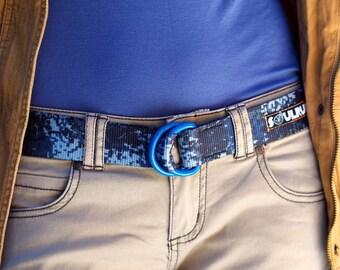 Fat Nylon Belt with Blue Powder Coat D-Rings - Blue Digital Camo