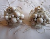 Vintage Gold Tone White Glass Faux Pearl and Clear Glass Clip On Earrings from Japan