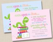 A Little Bookworm Custom Birthday Party Invitation Design- any age