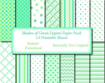 Mint Digital Paper Pack, 14 Printable Papers, Scrapbooking, Card Making, Background Papers, Paper Crafting, Instant Download