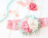 Soar Happy Thoughts -  coral peach aqua mintpolka dot chiffon flower headband M2M Matilda Jane Happy and Free