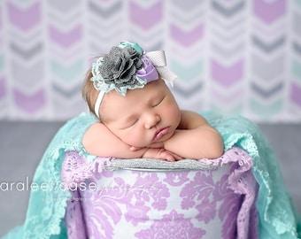 Hazy Skies-- plum aqua lavender grey and mint sea green rosette and chiffon headband