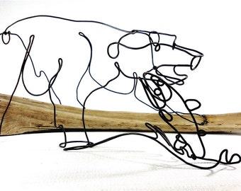 Fishing Bear Wire Sculpture, Bear Wire Art, Wildlife Wire Sculpture, 460744868