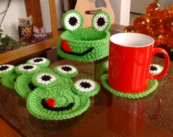 Crochet Froggy Coasters with Froggy Holder Bowl for Coffee Table or End Table
