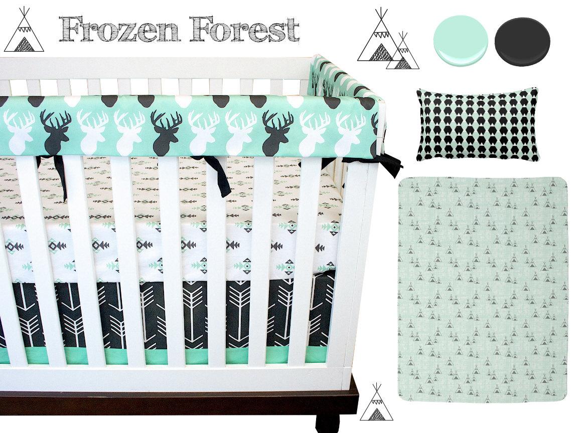 Frozen Forest Crib Bedding Deer Nursrery Bedding Icy Mint - Baby boy deer crib bedding sets
