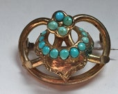 Victorian Love Knot Brooch with Persian Turquoise