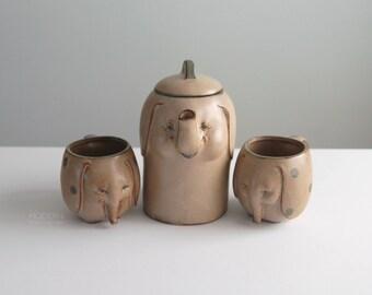 UCTCI Japan Cute Ceramic Elephant Coffee or Tea Pot and 2 Mugs