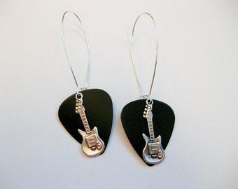 Silver Guitar Pick Earrings