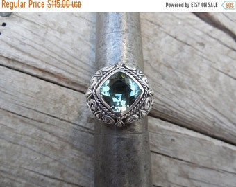 ON SALE Beautiful green amethyst ring handmade in sterling silver 925
