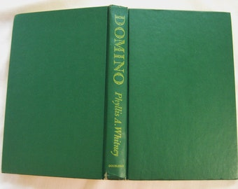 Domino by Phyllis A Whitney, vintage green book decor