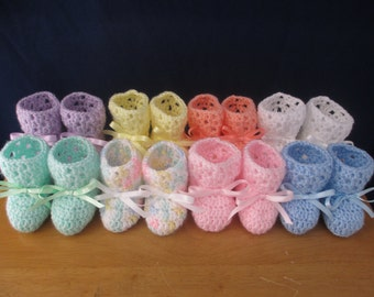 Crocheted baby booties - size 3 to 6 months