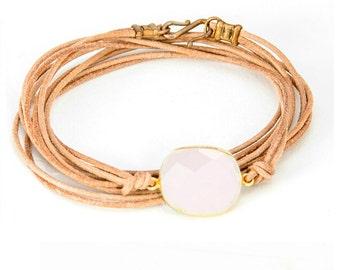 Pink Chalcedony Leather wrap Bracelet - BG03