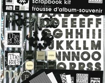 "mambiKIT Scrapbook Themed Kit – 8x8""- Friends - paper, stickers, black & white, classy, modern - brand new!"